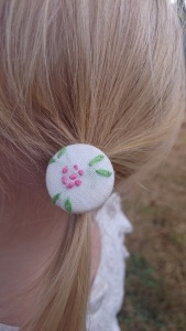 Pink flower green leaves ponytail holder, Anna