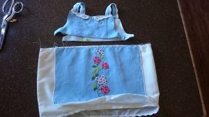 Blue Floral Apron Dress, add apron to skirt