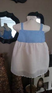 Blue Floral Apron Dress, back