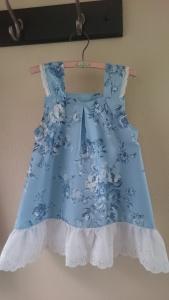 Blue floral tablecloth dress, 1