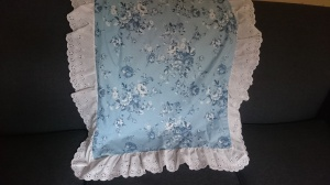 Vintage, blue floral tablecloth with eyelet lace (but not for long....)