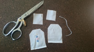 Pretend tea bag tutorial, cut pieces