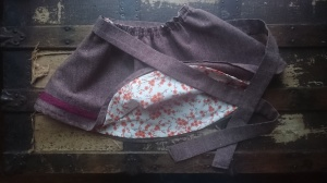 Merlot tweed swingset skirt, lining