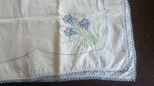 Vintage tablecloth swingset skirt, before 1