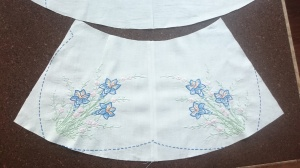 Vintage tablecloth swingset skirt, before 2